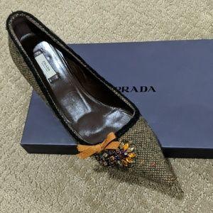 Prada Tweed Pointed Toe Kitten Heel,Colored Stones